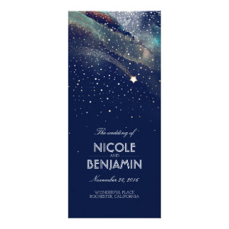 Navy and Gold Shooting Star Night Wedding Programs Rack Card