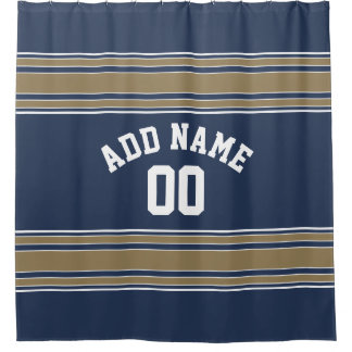 Navy and Gold Sports Jersey Custom Name Number Shower Curtain