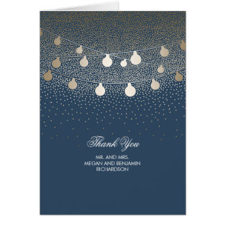 Navy and Gold String Lights Glitter Thank You Card