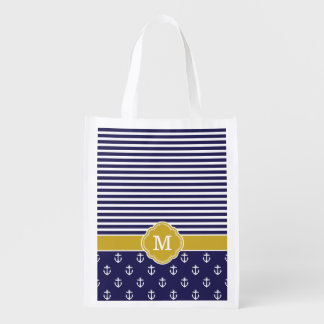 Navy and Gold Stripes and Anchors Monogram Reusable Grocery Bag