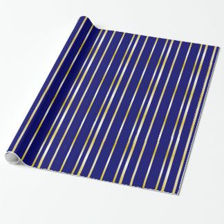 Navy and Gold Stripes Pattern Gift Wrap