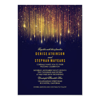 "Navy and Gold Wedding String Lights Invite 5"" X 7"" Invitation Card"