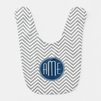 Navy and Gray Chevrons Custom Monogram Bibs