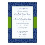 Navy and Green Damask Swirl Wedding Invitation