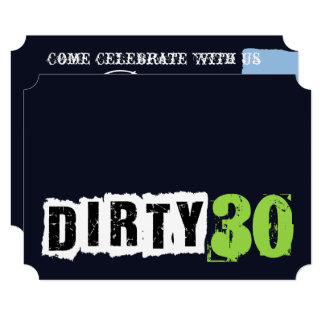 Navy And Green Dirty 30th Personalize Party Card