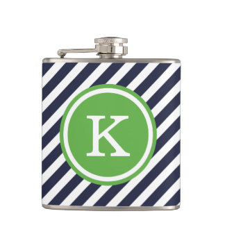 Navy and Green Nautical Stripes Monogram Flask