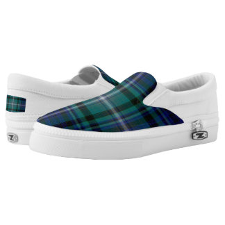 Navy and Green Plaid Slip On Sneakers
