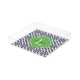 Navy and Green Trellis Monogram Acrylic Tray