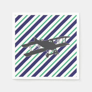 Navy and Green Vintage Biplane Airplane Napkins Disposable Napkins