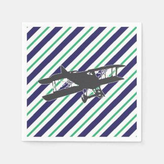 Navy and Green Vintage Biplane Airplane Napkins Disposable Serviette