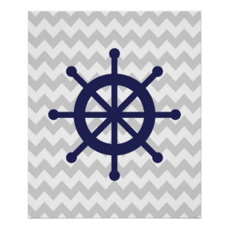 Navy and Grey Chevron Nautical Ship Wheel Poster