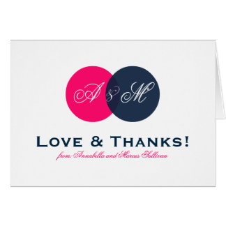 Navy and Hot Pink Entwined Monogram Thank You Card
