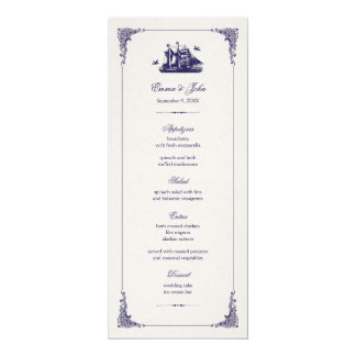 Navy and Ivory Vintage Ship Wedding Menu Cards
