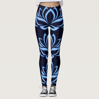Navy and Light Blue Lotus Design Leggings