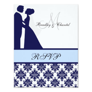Navy and Light Blue Wedding Couple RSVP Card 11 Cm X 14 Cm Invitation Card