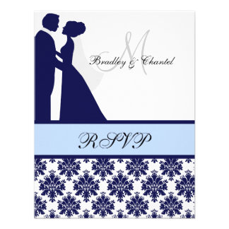 Navy and Light Blue Wedding Couple RSVP Card