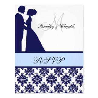 Navy and Light Blue Wedding Couple RSVP Card