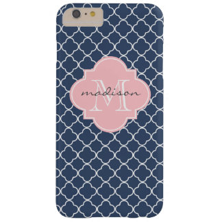 Navy and Light Pink Quatrefoil Custom Monogram Barely There iPhone 6 Plus Case