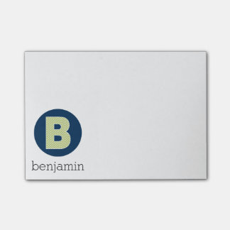 Navy and Lime Chevron Pattern Monogram Letter B Post-it Notes