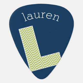 Navy and Lime Chevron Pattern Monogram Letter L Guitar Pick