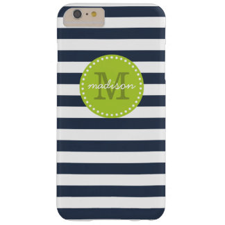 Navy and Lime Green Preppy Stripes Custom Monogram Barely There iPhone 6 Plus Case