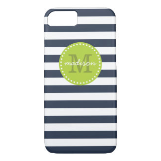 Navy and Lime Green Preppy Stripes Custom Monogram iPhone 8/7 Case