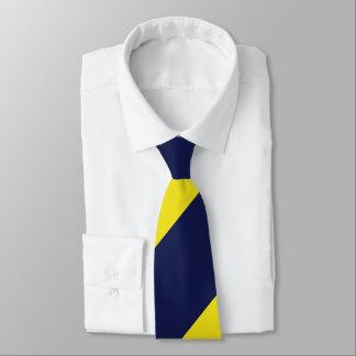 Navy and Maize Broad Regimental Stripe Tie