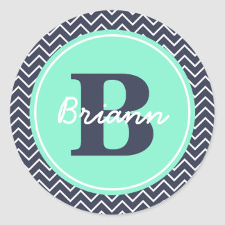Navy and Mint Chevron, Initial, and Name Round Sticker
