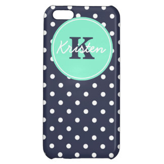 Navy and Mint Dots, Initial, and Name Case For iPhone 5C