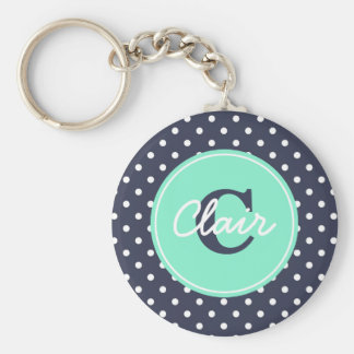 Navy and Mint Dots, Initial, and Name Key Ring