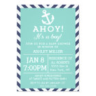 Navy and Mint Nautical Chevron Baby Shower Card