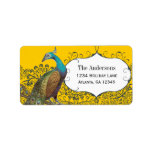 Navy and Mustard Peacock Love Bird Label Address Label