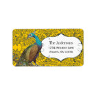 Navy and Mustard Peacock Love Bird Label