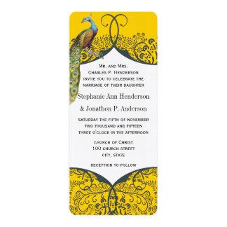 "Navy and Mustard Peacock Love Bird Pattern Wedding 4"" X 9.25"" Invitation Card"