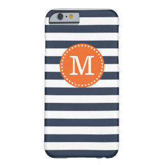 Navy and Orange Preppy Stripes Custom Monogram Barely There iPhone 6 Case