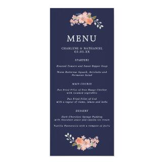Navy and Peach Floral Wedding Menu Card