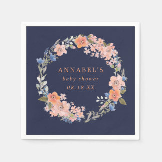 Navy and Peach Floral Wreath Baby Shower Napkins Paper Napkins