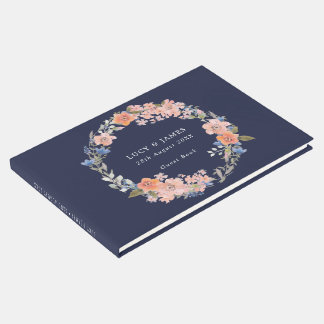 Navy and Peach Floral Wreath Wedding Guest Book