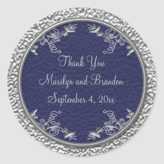 "Navy and Pewter 3"" Diameter Round Sticker"