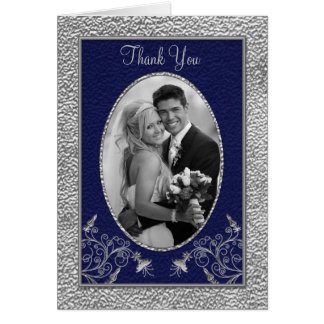 Navy and Pewter Thank You Card with Photo