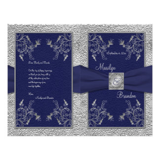 Navy and Pewter Wedding Program Flyers