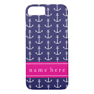 Navy and Pink Anchor iPhone 7 Case