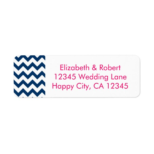Navy and Pink Chevron Return Address Label