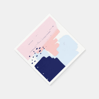 Navy and Pink Contemporary Cocktail Napkins Disposable Napkin