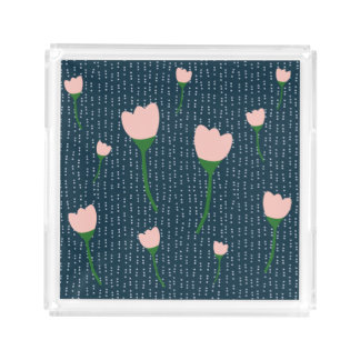 Navy and Pink Country Floral Tray