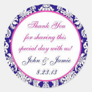 Navy and Pink Damask Round Wedding Sticker Label