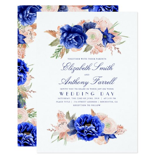 Navy and Pink Elegant Floral Wedding Card