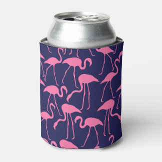 Navy and Pink Flamingo Pattern Can Cooler