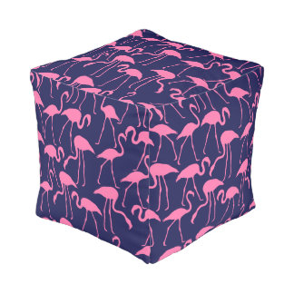 Navy and Pink Flamingo Pattern Pouf