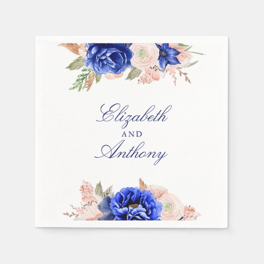 Navy and Pink Floral Disposable Napkin